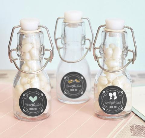 Mini glass bottle wedding favor gifts from Wedding Favy